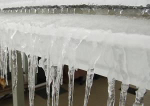 icedam clogged gutter