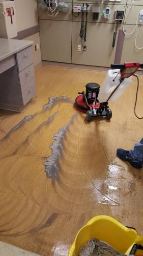 During hospital floor cleaning